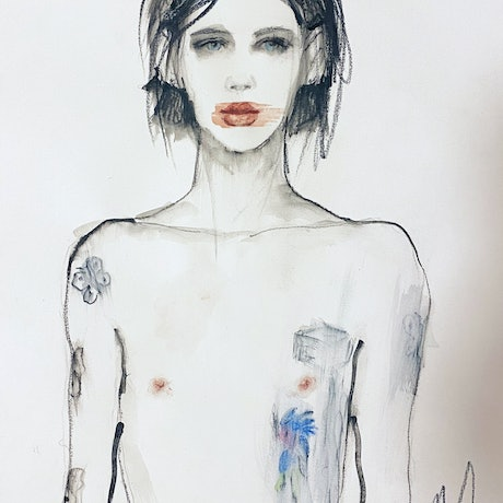 Tattoo Boy – watercolour, gouache and pencil on paper. 41cm x 29cm . Ships in a shipping tube. Comes with a certificate of authenticity and a handwritten thank you note.  I'm interested in sexuality, sensuality, gender fluid, androgynous characters. Inspired by the photography of Hedi Slimane and his Celine collection.  Fiona's paintings, drawings and artwork are featured and recognised in international fashion and design illustration reference books and magazines.  As a Fine Artist her paintings and artwork hang in private collections around the world and appear in International publications.