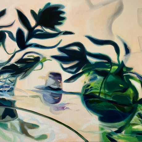 Colourful flowing shapes reflecting shadows of green jug and flowers