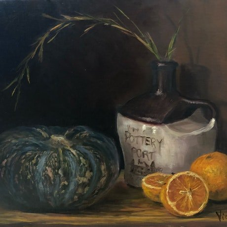 Still life of pumpkin oranges and pottery bottle in oil paint by Christopher Vidal
