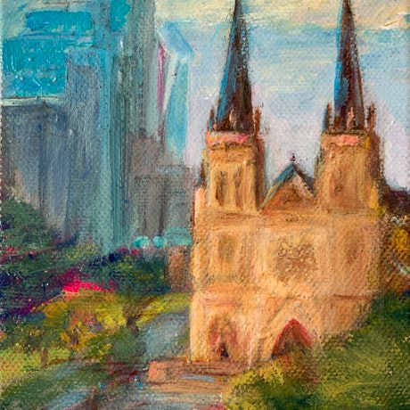 (CreativeWork) St Marys Cathedral, Sydney by Denise Gallagher. Acrylic. Shop online at Bluethumb.