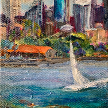 (CreativeWork) Sydney Harbour  Boats # 1 by Denise Gallagher. Acrylic. Shop online at Bluethumb.