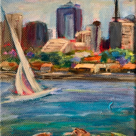 (CreativeWork) Sydney Harbour  Boats # 2 by Denise Gallagher. Acrylic. Shop online at Bluethumb.
