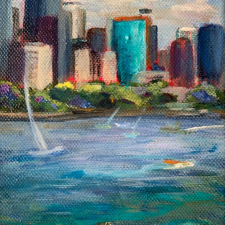 (CreativeWork) L Sydney Harbour  Boats # 3 l by Denise Gallagher. Acrylic. Shop online at Bluethumb.