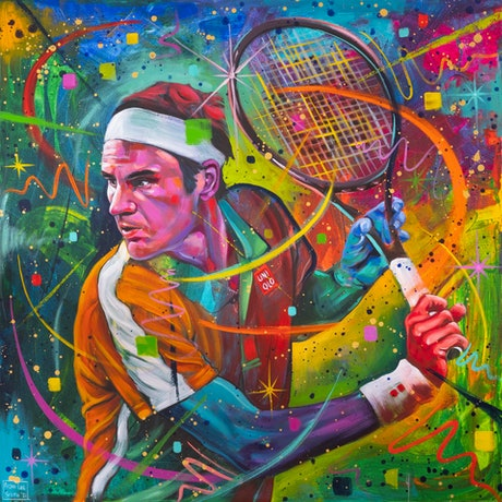 (CreativeWork) Roger Federer by Aidan Smith. Acrylic. Shop online at Bluethumb.