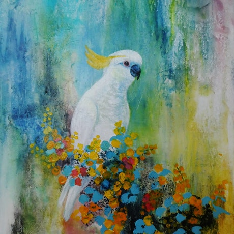 Cockatoo amongst Flowers with Colourful Background