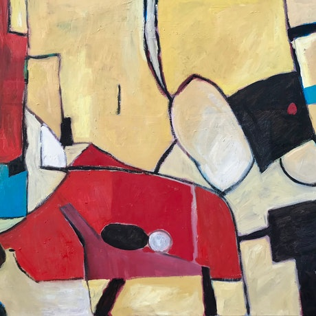 (CreativeWork) Yellow Abstract by Colin Palethorpe. Oil. Shop online at Bluethumb.