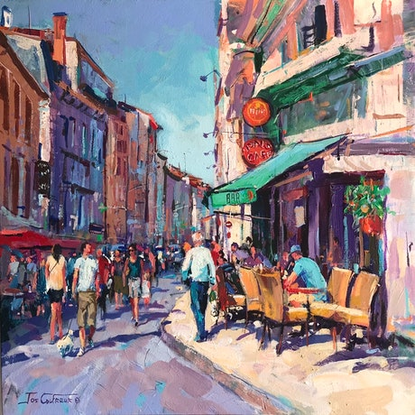Painted from a reference photo taken while on holiday in the Dordogne a few years ago.  I paint with large brushes and bold loose brush strokes.  I love using vibrant colours!