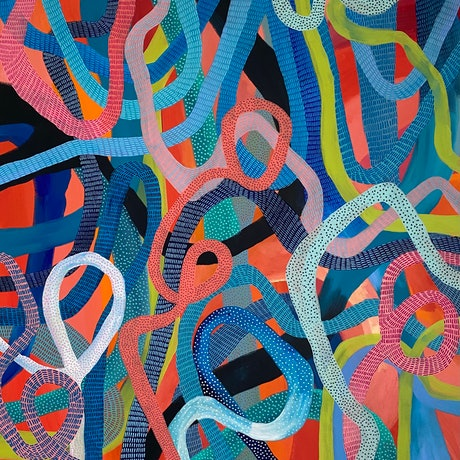 An orange canvas filled with patterned intersecting lines in blues, greens, white and peach.