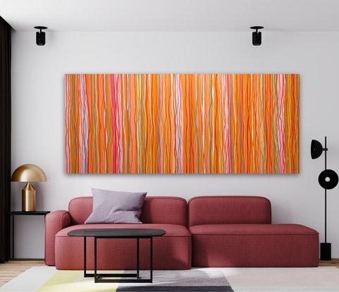Abstract impression of the colours and movement of the 60s and 70's.Conflicting and complimentary colours create movement as if they are dancing to the music of that time.