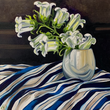 Canterbury Bell flowers on blue and white stripe