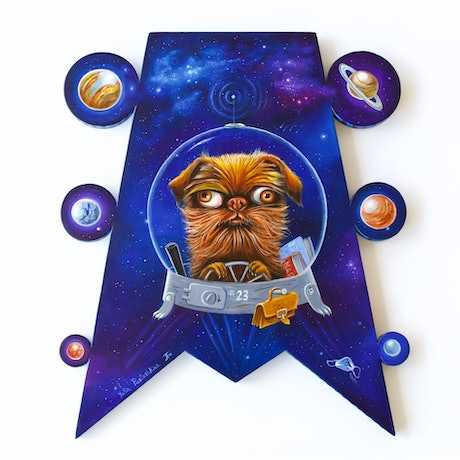 Dog Griffon flying into Space to Mars
