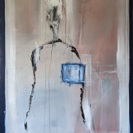 (CreativeWork) Figure With Blue Cube by Davide DiCenso. Acrylic. Shop online at Bluethumb.