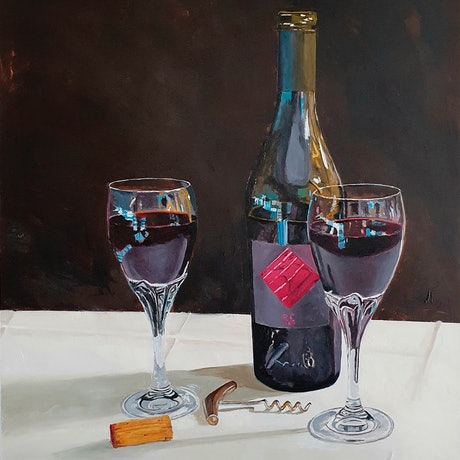 A deep moody study of red wine painted by Rob Kennedy in a loose realism style