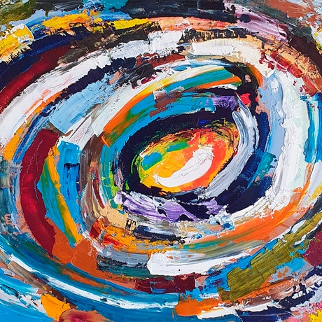 A rare abstract painting of colour turbulence by Rob Kennedy