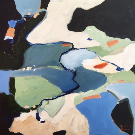 Abstract artwork of aerial view of landscapes. Strong use of black, dark blue greys and greens. Dashes of orange.