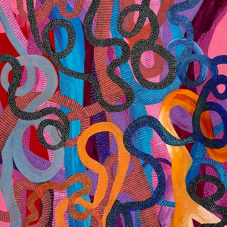 Large painting of intersecting lines in blue, orange and pink.