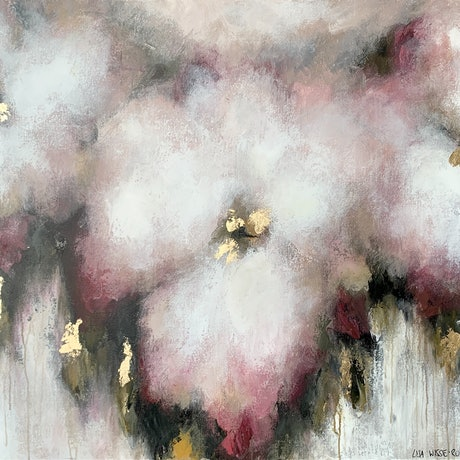 3 blurred soft pink and blush flowers with green foliage and gold leaf