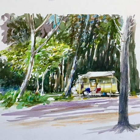 Beach forest camping scene with a  Kombi Camper .