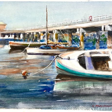 Painting of moored boats