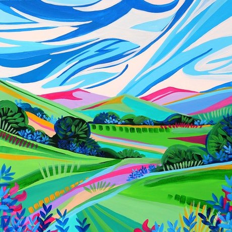 Landscape in bright colours and geometric shapes