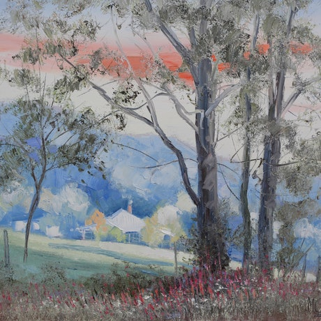 Australian pastoral scene with house and gum trees