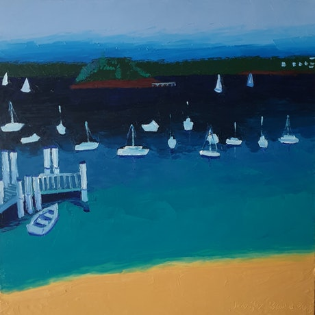 Colourful Sydney seascape with beach and yachts.