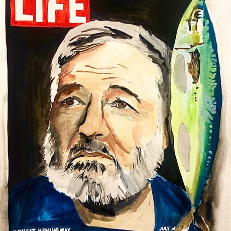 fish on LIFE magazine with Hemingway on the cover