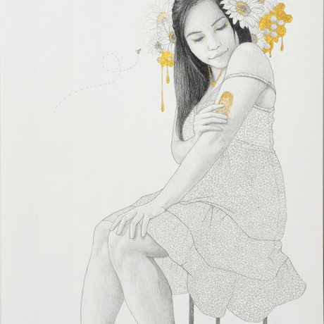 Girl in floral dress with black hair with honey, honeycomb, sunflowers and bees around her head.