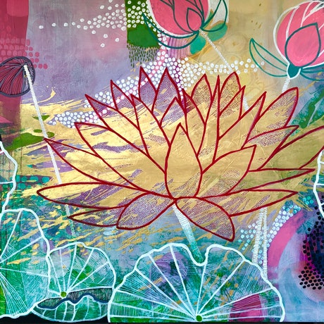 This work is a contemporary view of the lotus and its cultural tags. Serenity, calmness as well as a transparency of thought and deed! The petals  are numerous as they radiate love and understanding. The liquid gold are a token to the numerous Buddhist temples that are covered with  gold, as a sign of reverence.