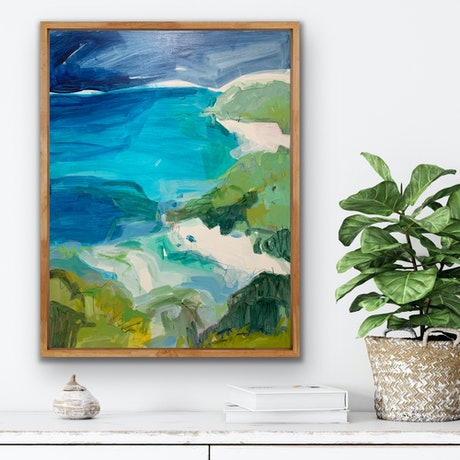 Abstracted coastal landscape in blues and greens