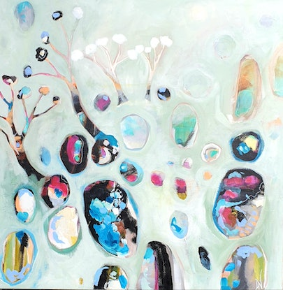 This is a semi abstract depiction of an outback landscape. The composition consists of organic /round shapes which represent Australian opals . The main colour is a pastel jade with black, blue and magenta highlights.