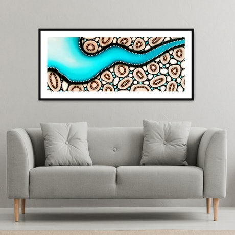 This work is a limited edition print of my original work 'Joy Flight' . An abstract aerial view of  Denmark, Western Australia. Inspired by the beautiful turquoise waters and organic rock formations along the coast.