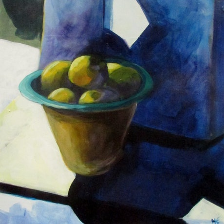 tall bowl with lemons, semi abtracted background