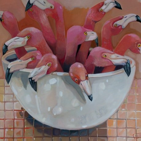 flamingo necks and heads in a white bowl with the text Same Same embossed into the side of the white bowl. The painting in bright pink and white.