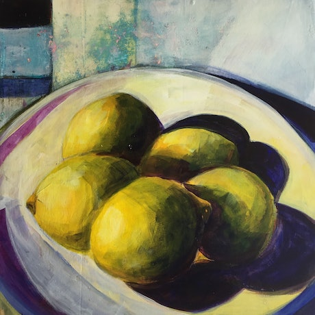 5 lemons in white bowl with abstracted background of textured shapes
