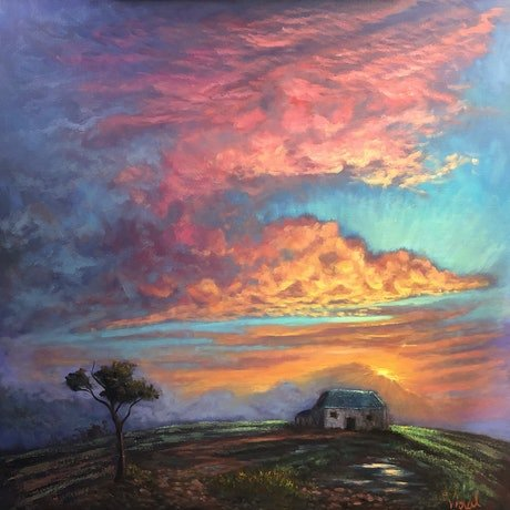An original oil painting showing sunset light on storm clouds