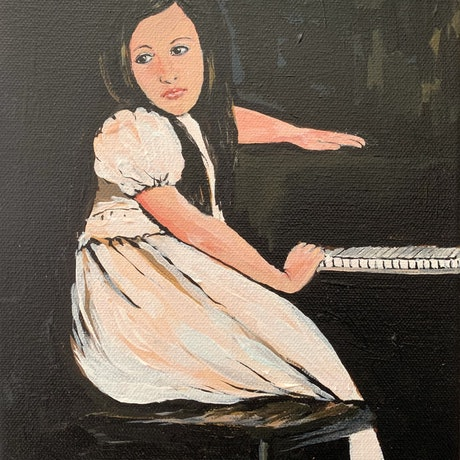 Young girl sitting at the piano contemplating the lesson ahead.
