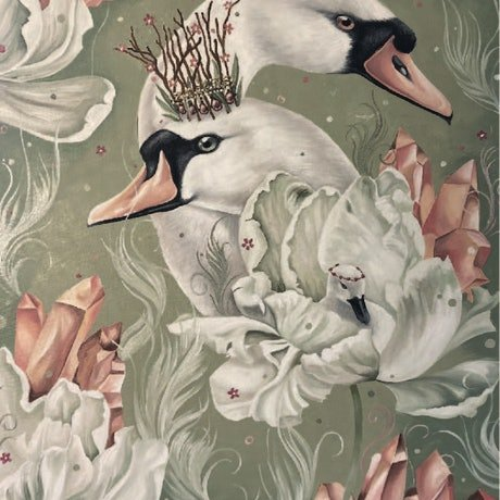 swans entwined with elements of nature, peonies and crystals