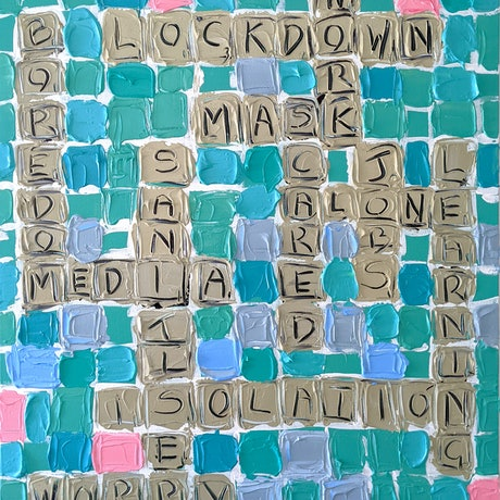 A textured scrabble board with covid inspired words integrated