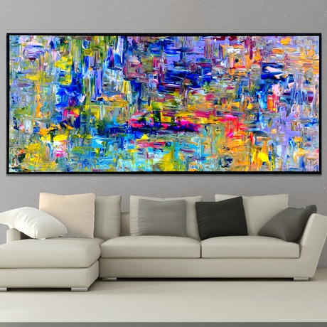 Photo shows painting with floating frame