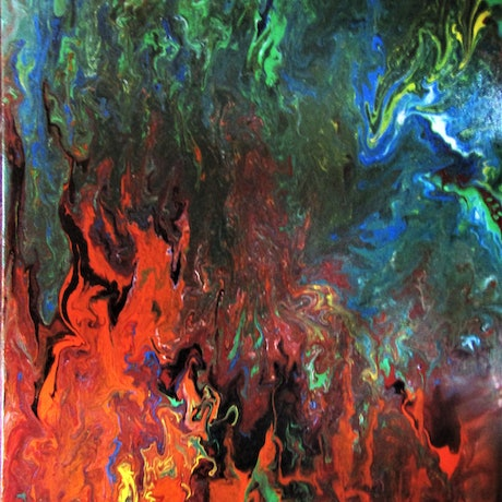 Abstract painting of bushfire, red oranges of fire moving up into green of trees