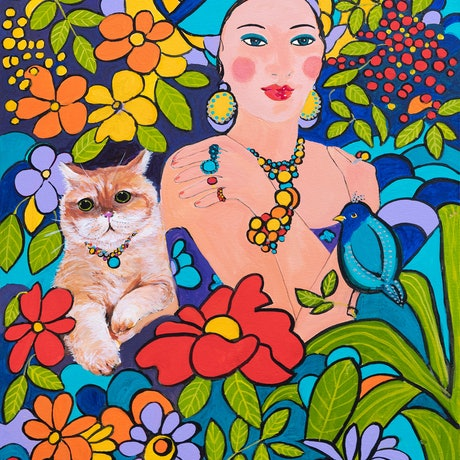 Beautiful woman with her pet cat  in a setting of exotic, colourful flowers. Warm and uplifting.