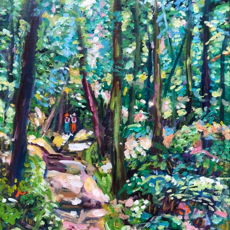 Green and blue forest landscape