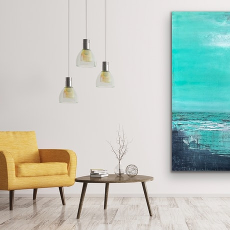 A calming seascape with subtle mark making.