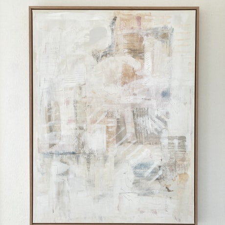 white neutral earthy abstract painting in natural oak frame