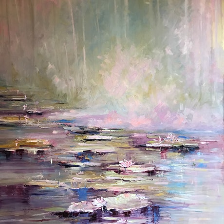 Blushing Beauties is all about - these beautiful water lilies known as jewels of the pond are enjoying the harmony of pastel surrounds. Enjoy!