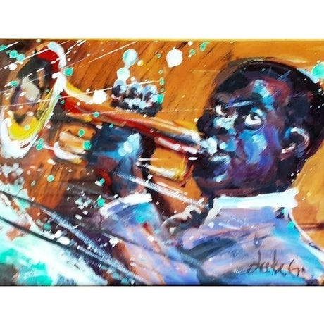 The African-American musician playing his golden trumpet with bright splashes and stripes to create excitement and vibrancy in the painting.