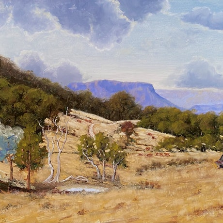 australian farm scene with cows and dam looking to distant mountains