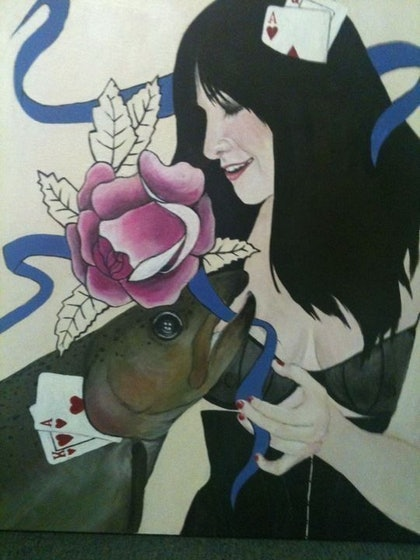 (CreativeWork) Girl with Fish by Jennifer Pelham. arcylic-painting. Shop online at Bluethumb.