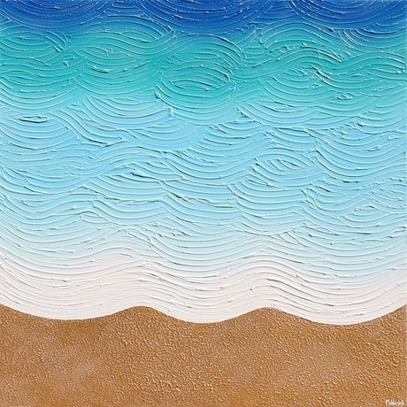 blue waves coming on the beach textured painting gold sands